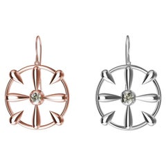 18 Karat White and Pink Gold and GIA Diamond Teardrop Earrings