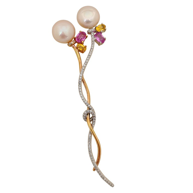 18 Karat White and Rose Gold Brooch with Diamonds, Pearls and Colored Sapphires For Sale