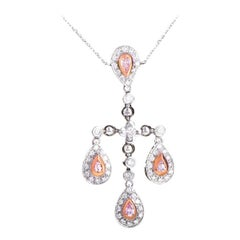 18 Karat White and Rose Gold Diamond Pendant Necklace