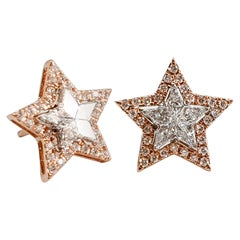 18 Karat White and Rose Gold Diamond Studs