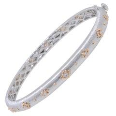 18 Karat White and Rose Gold Diamonds Link Modern Bracelet in Florentine Finish