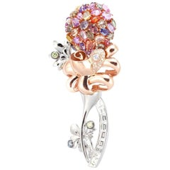 18 Karat White and Rose Gold Queen's Brooch with Diamonds and Sapphires