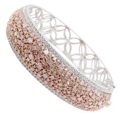 18 Karat White and Rose Gold Fancy Pink Diamond Bangle Bracelet