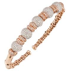 18 Karat White and Rose Gold Pave Diamond Cuff Bangle
