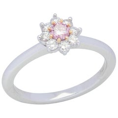 18 Karat White and Rose Gold Pink Diamond Flower Ring
