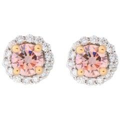 18 Karat White and Rose Gold Pink Diamond Stud Earrings
