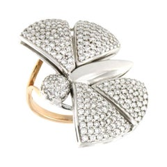 18 Karat White and Rose Gold with White Diamond Ring