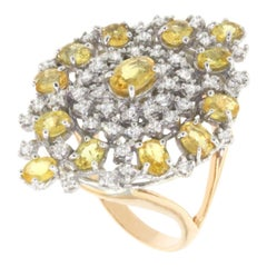 18 Karat White and Rose Gold with Yellow Sapphire and White Diamond Ring