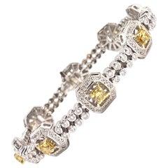 18 Karat White and Yellow Diamond Bracelet