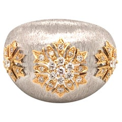 18 Karat White and Yellow Frosted Style Ring Made in Italy