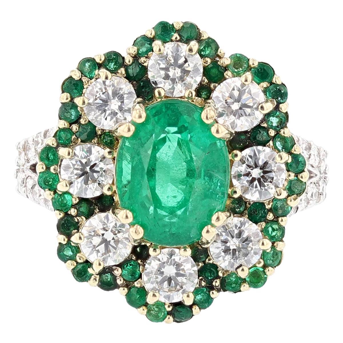 18 Karat White and Yellow Gold 2.66 Carat Emerald Diamond Cocktail Ring