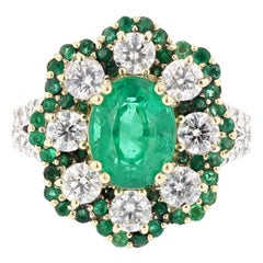 18 Karat White and Yellow Gold 2.66 Carat Emerald Diamond Cocktail Ring