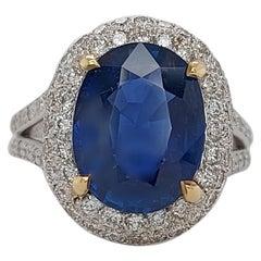 18 Karat White and Yellow Gold 4.88 Carat Burma No Heat Sapphire, Diamond Ring