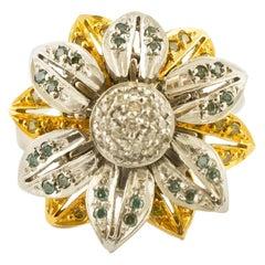18 Karat White and Yellow Gold and Fancy Diamonds, Daisy Ring