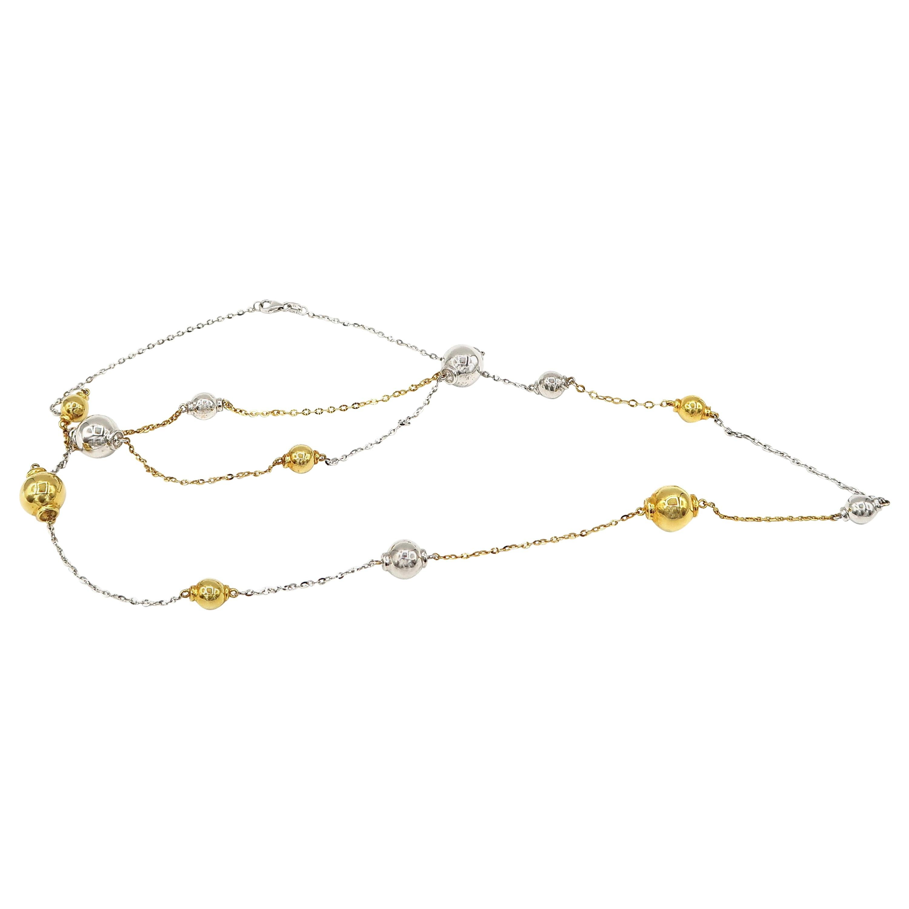 32-inch Delicate Throw-on 18 Karat White and Yellow Gold Ball and Chain Necklace
