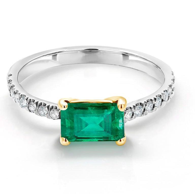 Emerald Cut Eighteen Karat Gold Columbia Emerald Diamond Cocktail Ring  For Sale