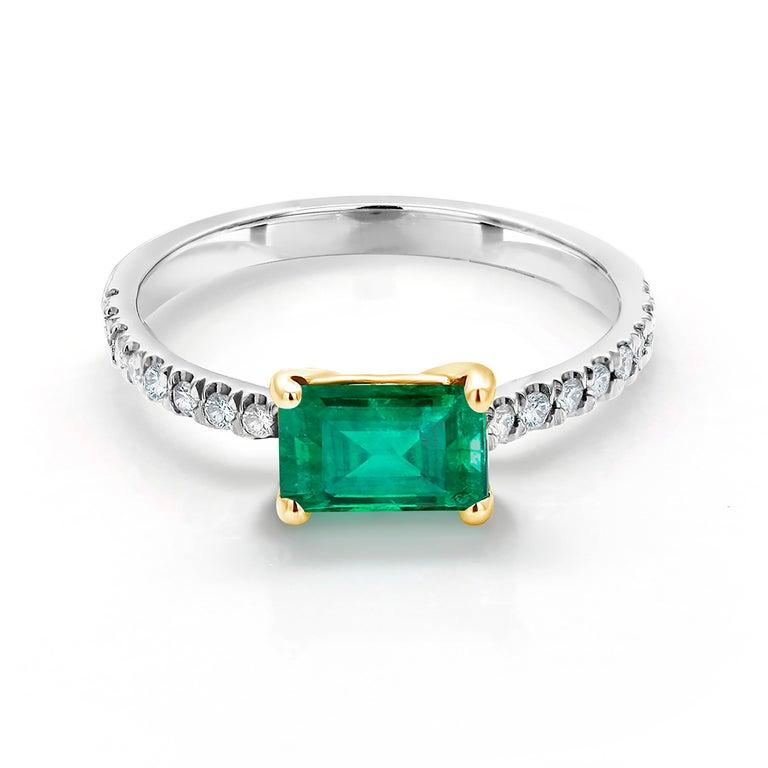 Women's Eighteen Karat Gold Columbia Emerald Diamond Cocktail Ring  For Sale
