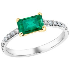 Eighteen Karat Gold Columbia Emerald Diamond Cocktail Ring Weighing 1.59