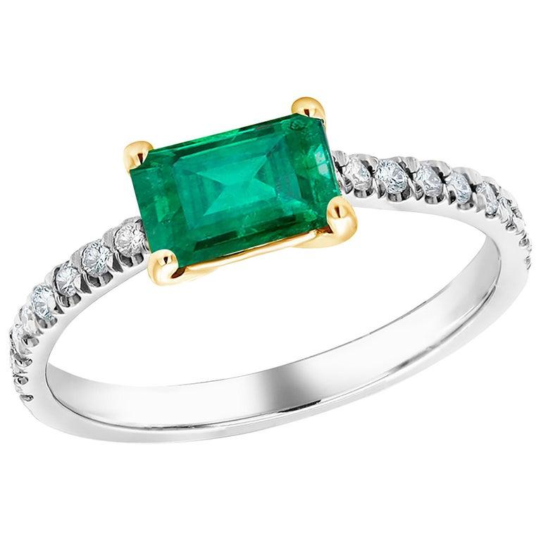 Eighteen Karat Gold Columbia Emerald Diamond Cocktail Ring  For Sale