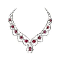 18 Karat White and Yellow Gold Diamond and Ruby Necklace