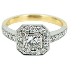 18 Karat White and Yellow Gold Diamond Art Deco Style Ring