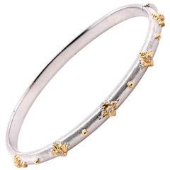 18 Karat White and Yellow Gold Diamond Bangle Bracelet