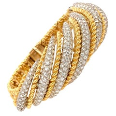 18 Karat White and Yellow Gold Diamond Bracelet