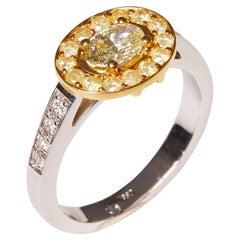 18 Karat White and Yellow Gold Diamond Cocktail Ring