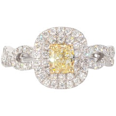 18 Karat White and Yellow Gold Diamond Engagement Ring