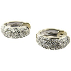 18 Karat White and Yellow Gold Diamond Huggie Earrings