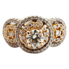 18 Karat White and Yellow Gold Diamond Ring