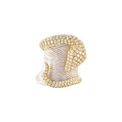 18 Karat White and Yellow Gold Diamond Snake on Wide Band
