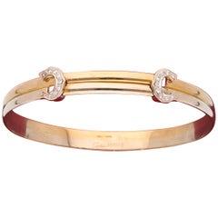 18 Karat White and Yellow Gold Diamonds Cartier Bangle