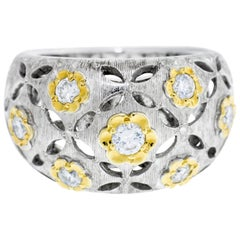 18 Karat White and Yellow Gold Eyelet Flower Band Diamond Ring