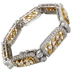 "18 Karat White and Yellow Gold ""Montserrat"" 9.45 Carat Diamonds Bracelet"