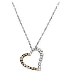 18 Karat White and Yellow Gold Open Heart Diamond Pendant