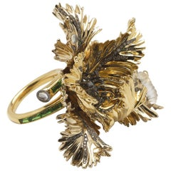 18 Karat White and Yellow Gold Parrot Tulip in White Diamond Cocktail Ring