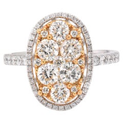18 Karat White and Yellow Gold Pavé Diamond Oval Ring