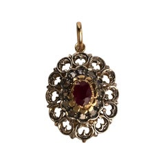 18 Karat White and Yellow Gold Pendant with Ruby and Diamonds