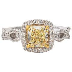 18 Karat White and Yellow Gold Radiant Diamond Engagement Ring