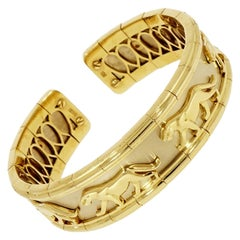 18 Karat White and Yellow Gold Solid Panther Cuff Bracelet