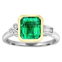 18 Karat White and Yellow Gold Square Green Emerald Ring 'Center, 2.31 Carat'