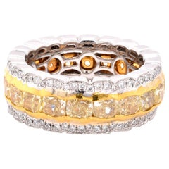 18 Karat White and Yellow Gold White and Yellow Diamond Eternity Band