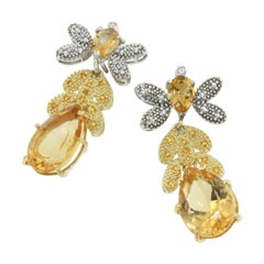 18 Karat White and Yellow Gold with Citrines and White Diamonds Earrings