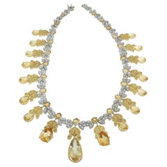 18 Karat White and Yellow Gold with Citrines and White Diamonds Necklace