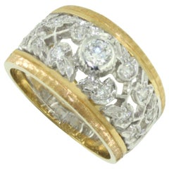 18 Karat White and Yellow Gold with White Diamond Ring