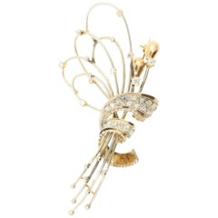 """18 Karat White and Yellow Gold """"Wreath"""" Brooch with Diamonds"""