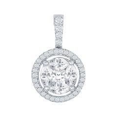 18 Karat White Circle Diamond Pendant with Halo