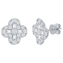 18 Karat White Clover Diamond Earrings 2 Carat