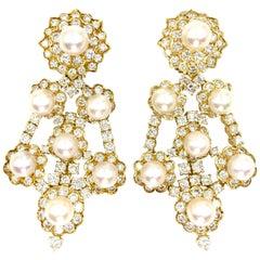 18 Karat White Diamond and Cultured Pearl Open Chandelier Earrings